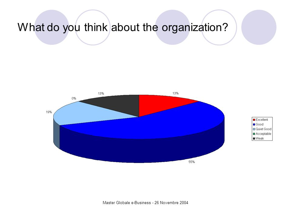 Master Globale e-Business - 26 Novembre 2004 What do you think about the organization