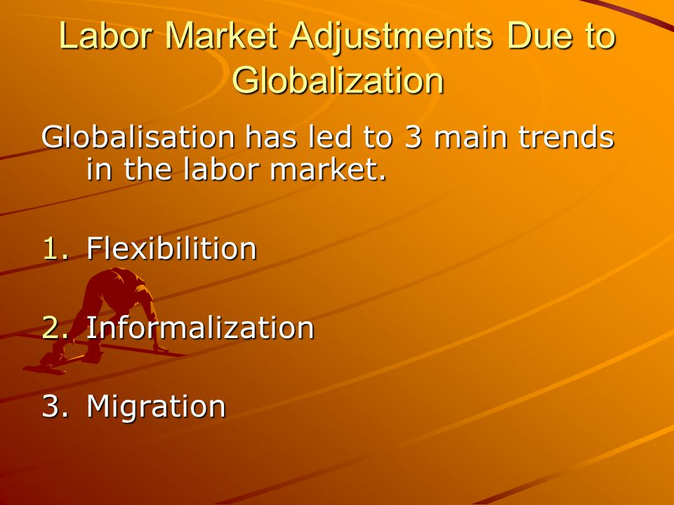Impacts of globalisation Positive Impacts Creation of new jobs for skilled workers New technologies Negative Impacts Decline in membership Weak bargaining power Eroding union financial base Losing benefits Increase in child labor