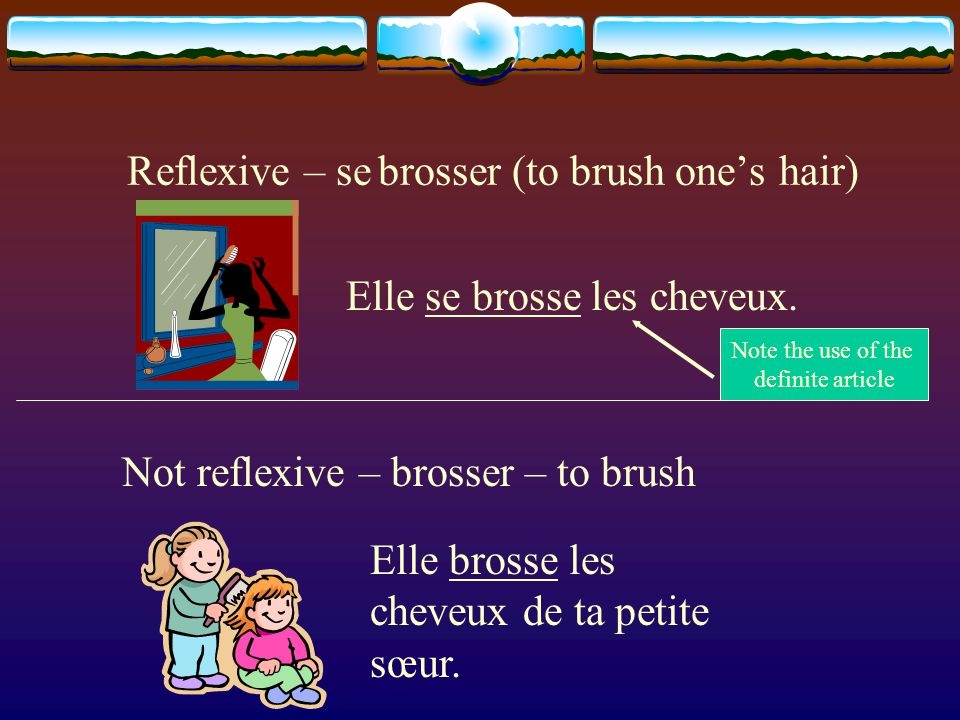 Reflexive – se laver (to wash oneself) Not reflexive – laver – to wash Il se lave. Il lave la voiture