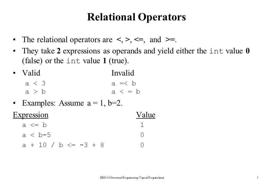 BBS514 Structured Programming (Yapısal Programlama)3 Relational Operators The relational operators are, =.