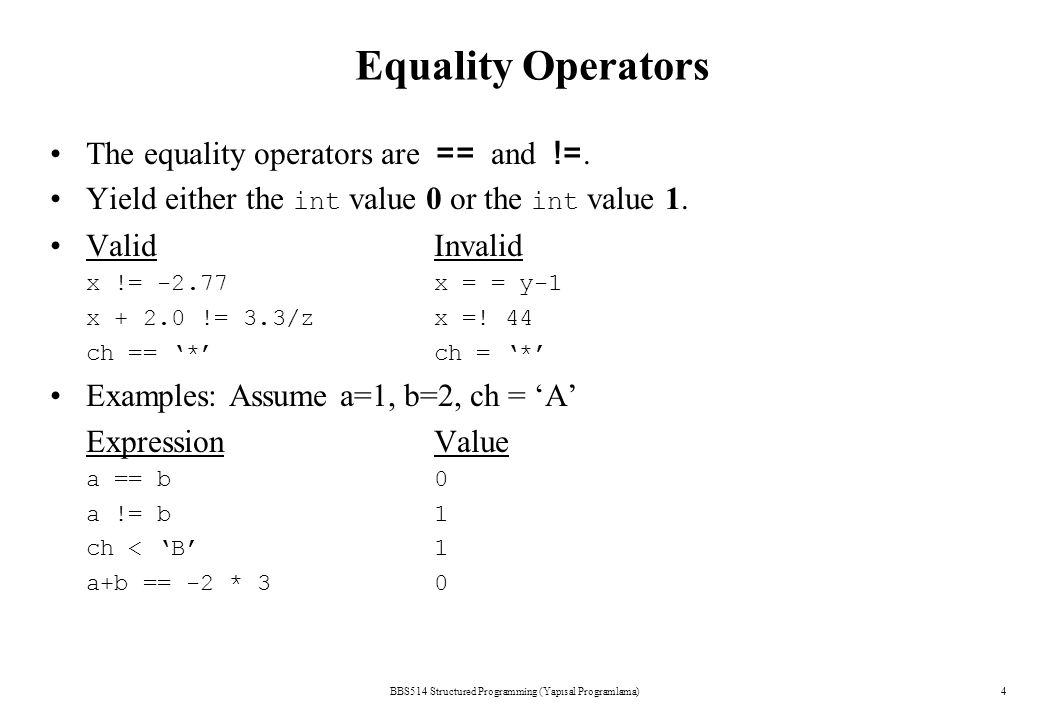 BBS514 Structured Programming (Yapısal Programlama)4 Equality Operators The equality operators are == and !=.