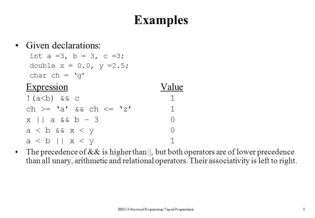 BBS514 Structured Programming (Yapısal Programlama)7 Logical Operators aba && ba || b zero 00 nonzero01 zero01 nonzero 11
