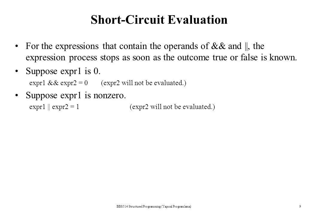 BBS514 Structured Programming (Yapısal Programlama)19 Nested if's if (grade >= 90) printf( A ); else if (grade >= 80) printf( B ); else if (grade >= 70) printf( C ); else if (grade >= 60) printf( D ); else printf( F );