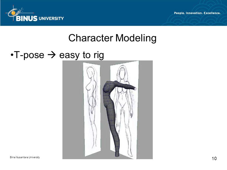Bina Nusantara University 10 Character Modeling T-pose  easy to rig