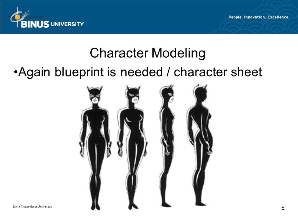 Bina Nusantara University 5 Character Modeling Again blueprint is needed / character sheet