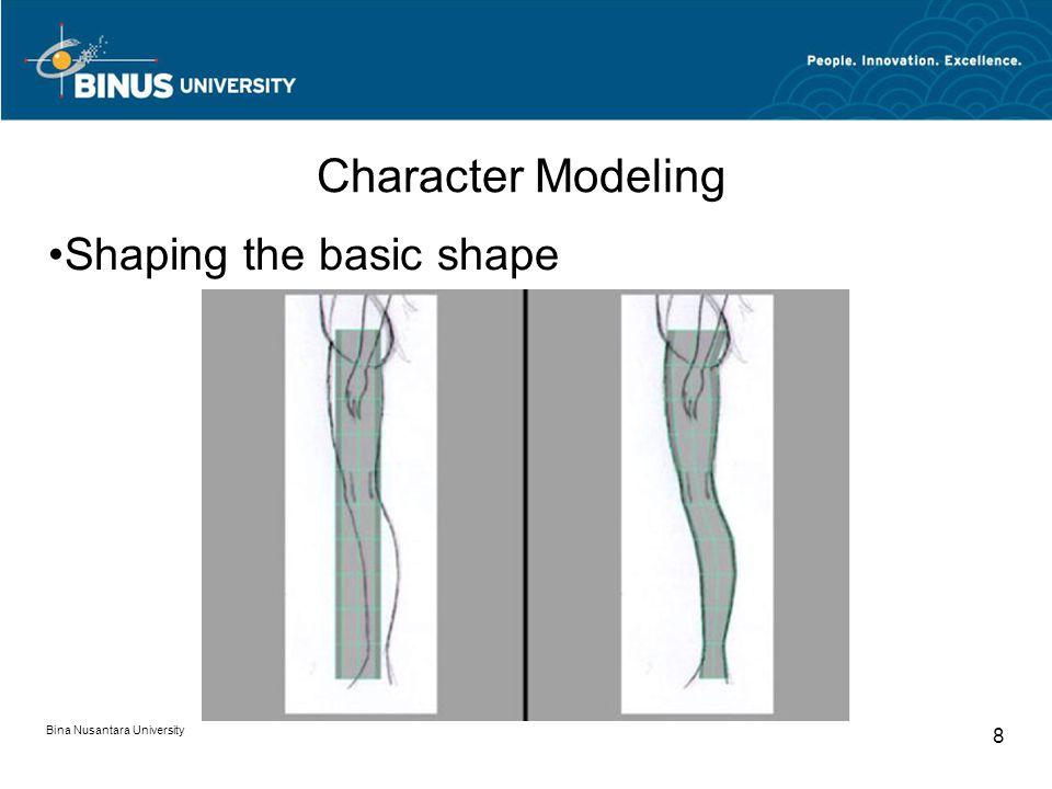 Bina Nusantara University 8 Character Modeling Shaping the basic shape