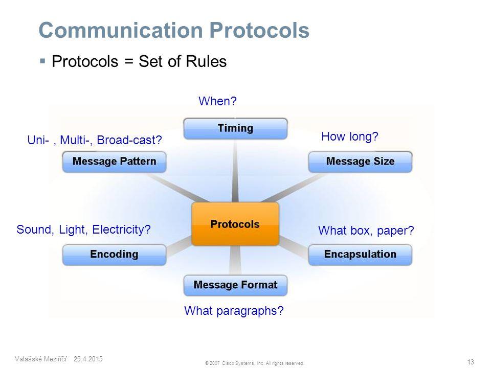 Valašské Meziříčí 25.4.2015 13 © 2007 Cisco Systems, Inc. All rights reserved. Communication Protocols  Protocols = Set of Rules When? How long? What