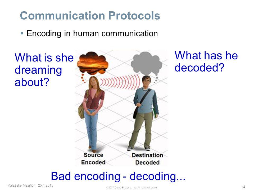 Valašské Meziříčí 25.4.2015 14 © 2007 Cisco Systems, Inc. All rights reserved. Communication Protocols  Encoding in human communication What is she d
