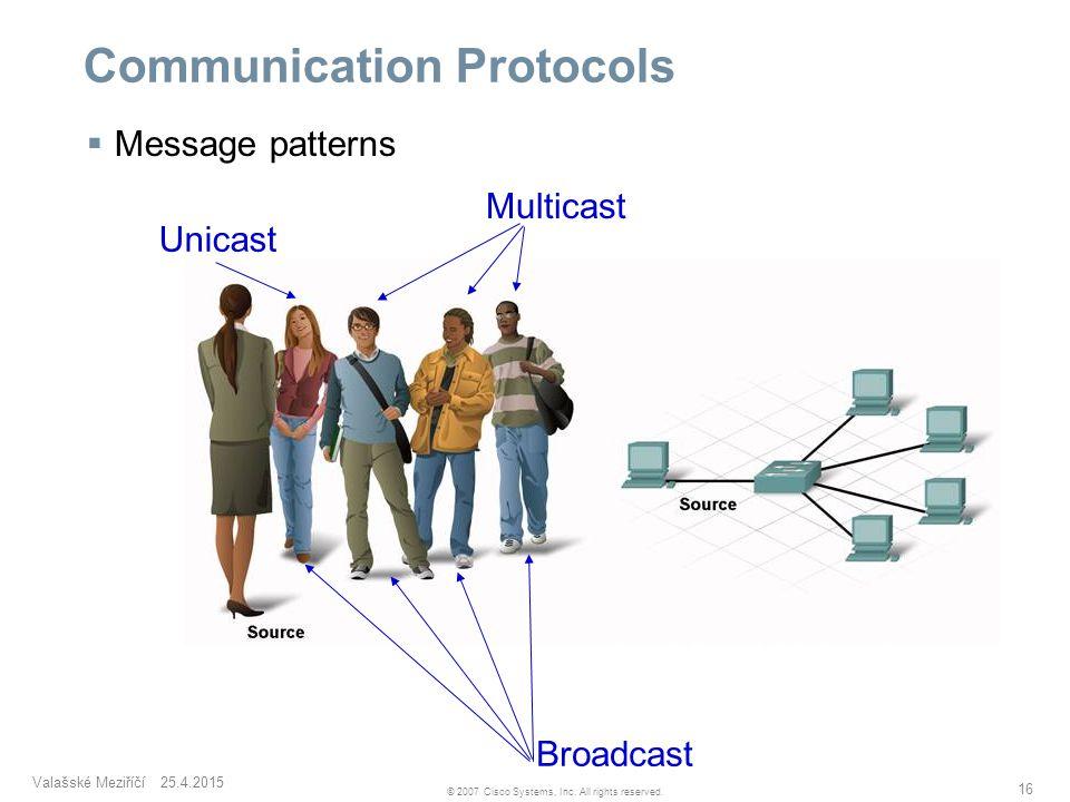 Valašské Meziříčí 25.4.2015 16 © 2007 Cisco Systems, Inc. All rights reserved. Communication Protocols  Message patterns Unicast Multicast Broadcast