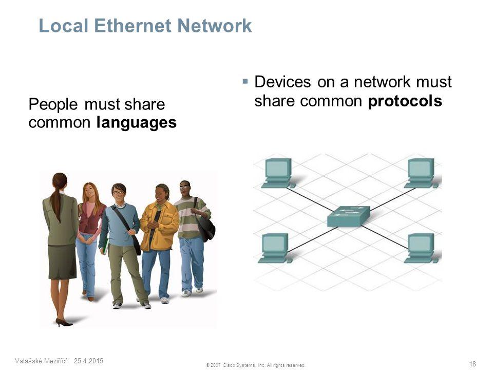 Valašské Meziříčí 25.4.2015 18 © 2007 Cisco Systems, Inc. All rights reserved. Local Ethernet Network  Devices on a network must share common protoco