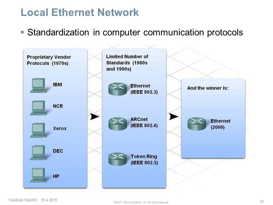 Valašské Meziříčí 25.4.2015 19 © 2007 Cisco Systems, Inc. All rights reserved. Local Ethernet Network  Standardization in computer communication prot