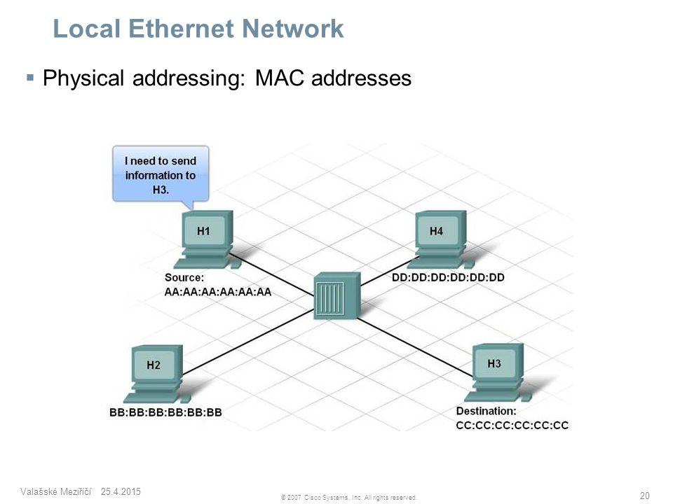 Valašské Meziříčí 25.4.2015 20 © 2007 Cisco Systems, Inc. All rights reserved. Local Ethernet Network  Physical addressing: MAC addresses