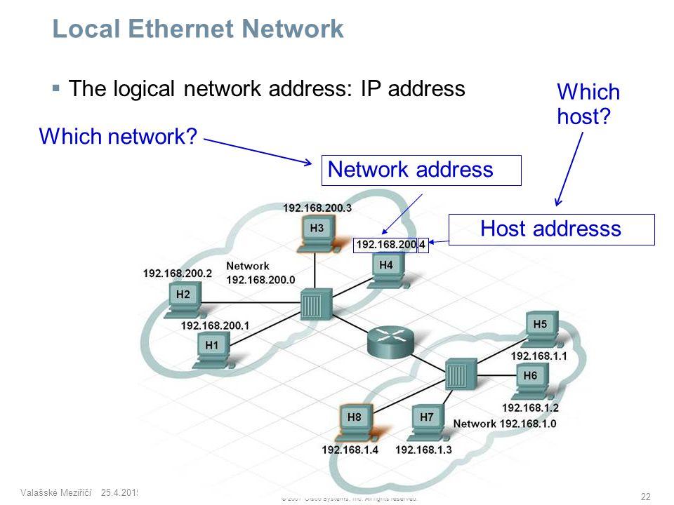 Valašské Meziříčí 25.4.2015 22 © 2007 Cisco Systems, Inc. All rights reserved. Local Ethernet Network  The logical network address: IP address Networ