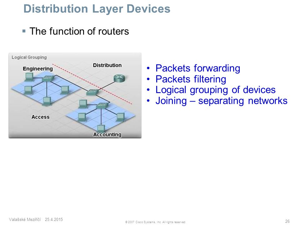Valašské Meziříčí 25.4.2015 26 © 2007 Cisco Systems, Inc. All rights reserved. Distribution Layer Devices  The function of routers Packets forwarding