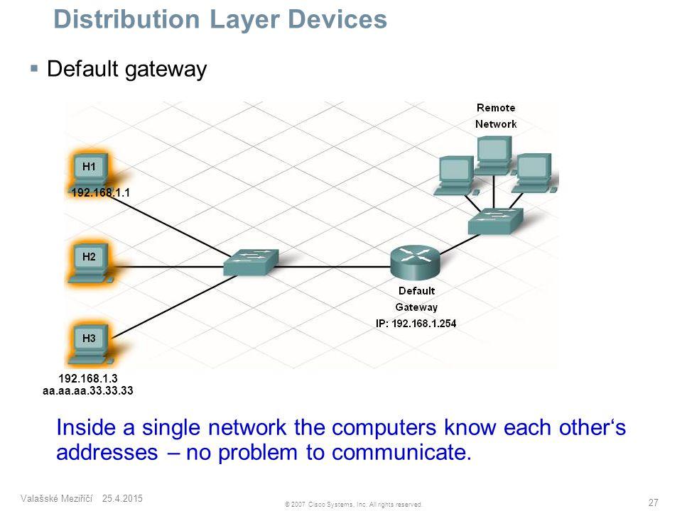 Valašské Meziříčí 25.4.2015 27 © 2007 Cisco Systems, Inc. All rights reserved. Distribution Layer Devices  Default gateway 192.168.1.1 192.168.1.3 aa