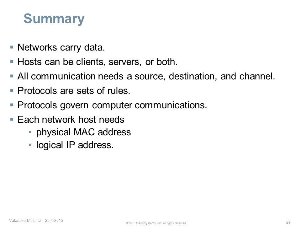 Valašské Meziříčí 25.4.2015 29 © 2007 Cisco Systems, Inc. All rights reserved. Summary  Networks carry data.  Hosts can be clients, servers, or both