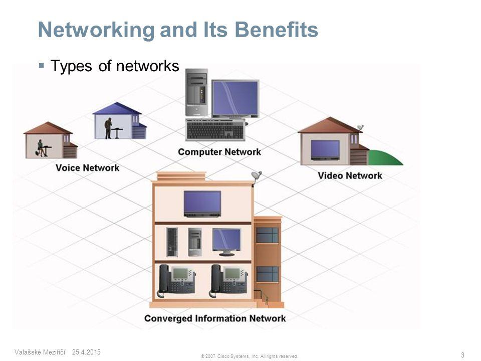 Valašské Meziříčí 25.4.2015 3 © 2007 Cisco Systems, Inc. All rights reserved. Networking and Its Benefits  Types of networks