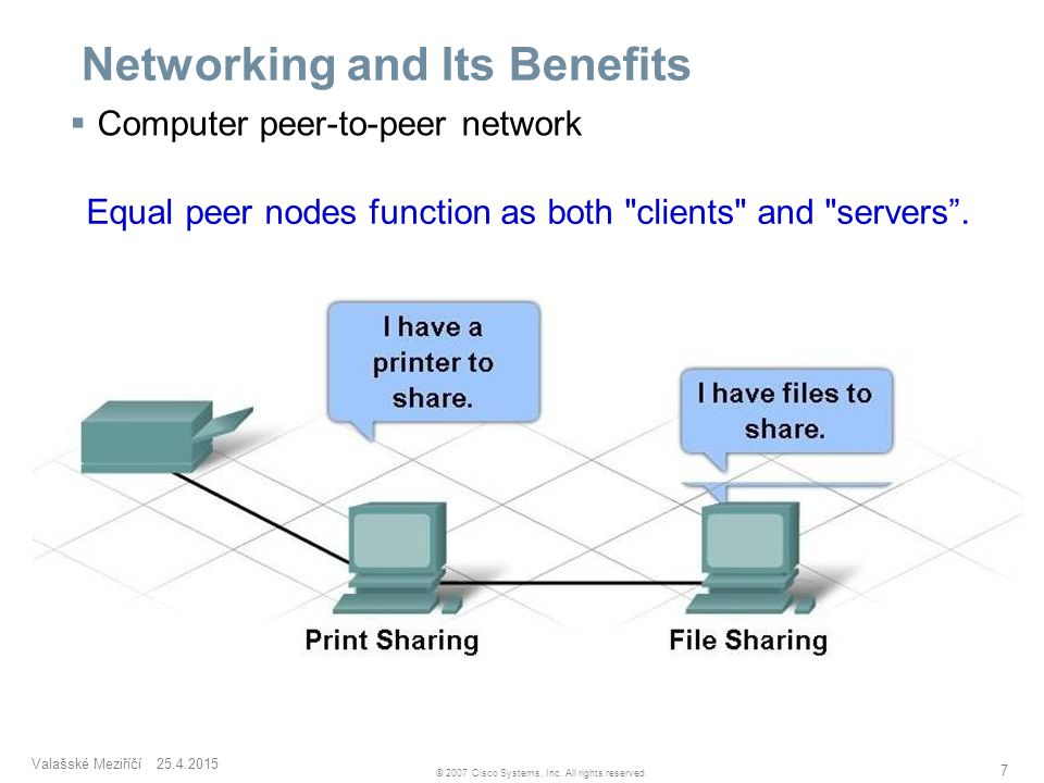 Valašské Meziříčí 25.4.2015 7 © 2007 Cisco Systems, Inc. All rights reserved. Networking and Its Benefits  Computer peer-to-peer network Equal peer n