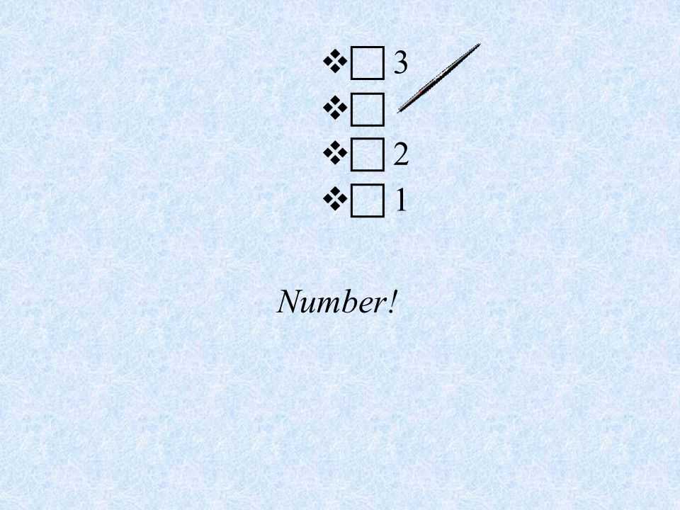Number!   3    2   1