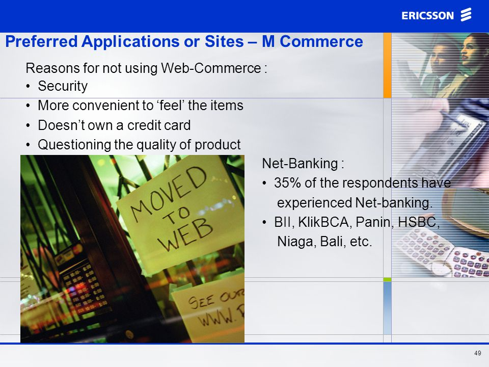 48 Preferred Applications or Sites – M Commerce There's a prospect for M-Commerce.