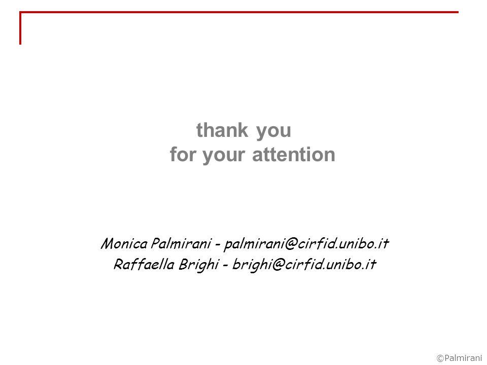 ©Palmirani thank you for your attention Monica Palmirani - palmirani@cirfid.unibo.it Raffaella Brighi - brighi@cirfid.unibo.it