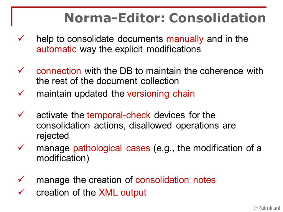 ©Palmirani The result in the passive document: metadata for managing the annotation modifica nota