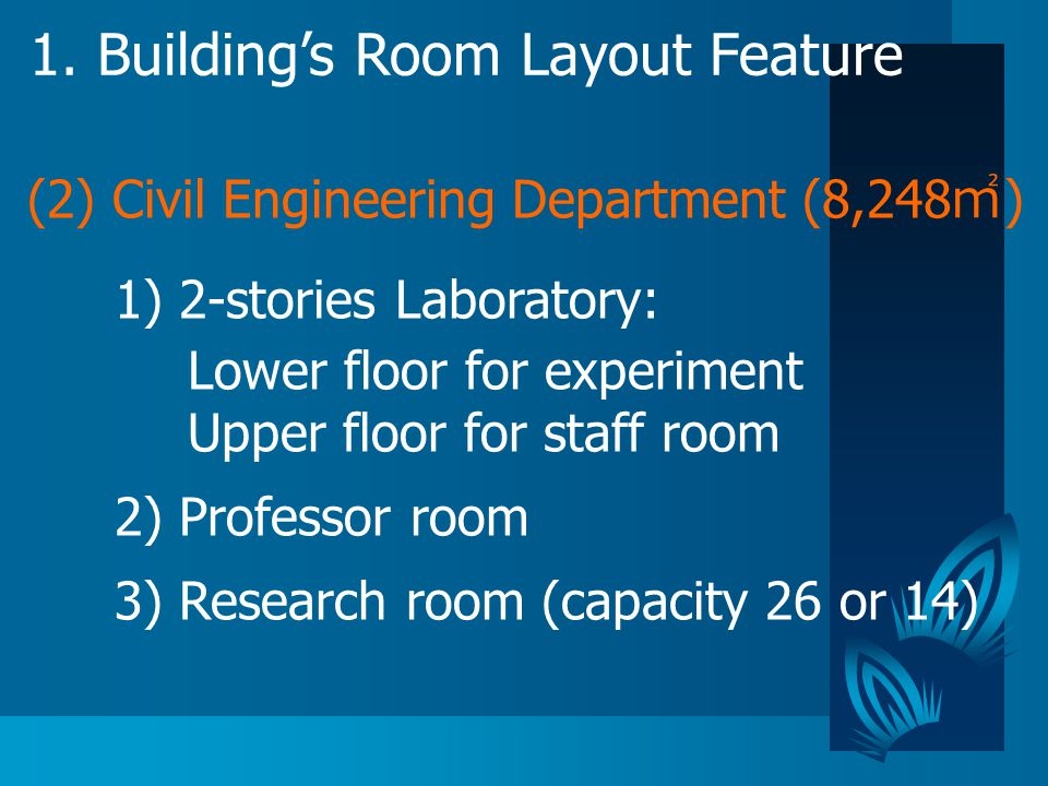 1. Building's Room Layout Feature 1) 2-stories Laboratory: Lower floor for experiment Upper floor for staff room 2) Professor room 3) Research room (c