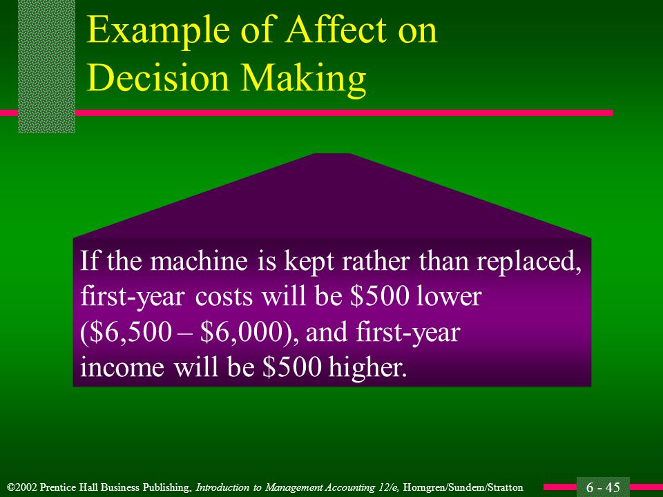 ©2002 Prentice Hall Business Publishing, Introduction to Management Accounting 12/e, Horngren/Sundem/Stratton 6 - 45 Example of Affect on Decision Making If the machine is kept rather than replaced, first-year costs will be $500 lower ($6,500 – $6,000), and first-year income will be $500 higher.