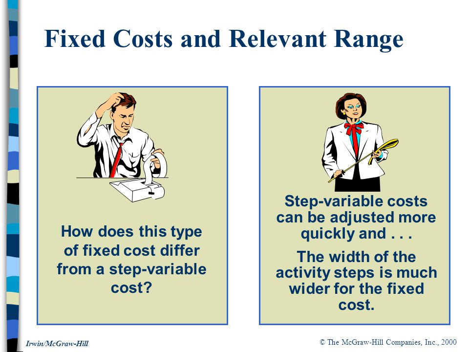 © The McGraw-Hill Companies, Inc., 2000 Irwin/McGraw-Hill How does this type of fixed cost differ from a step-variable cost.