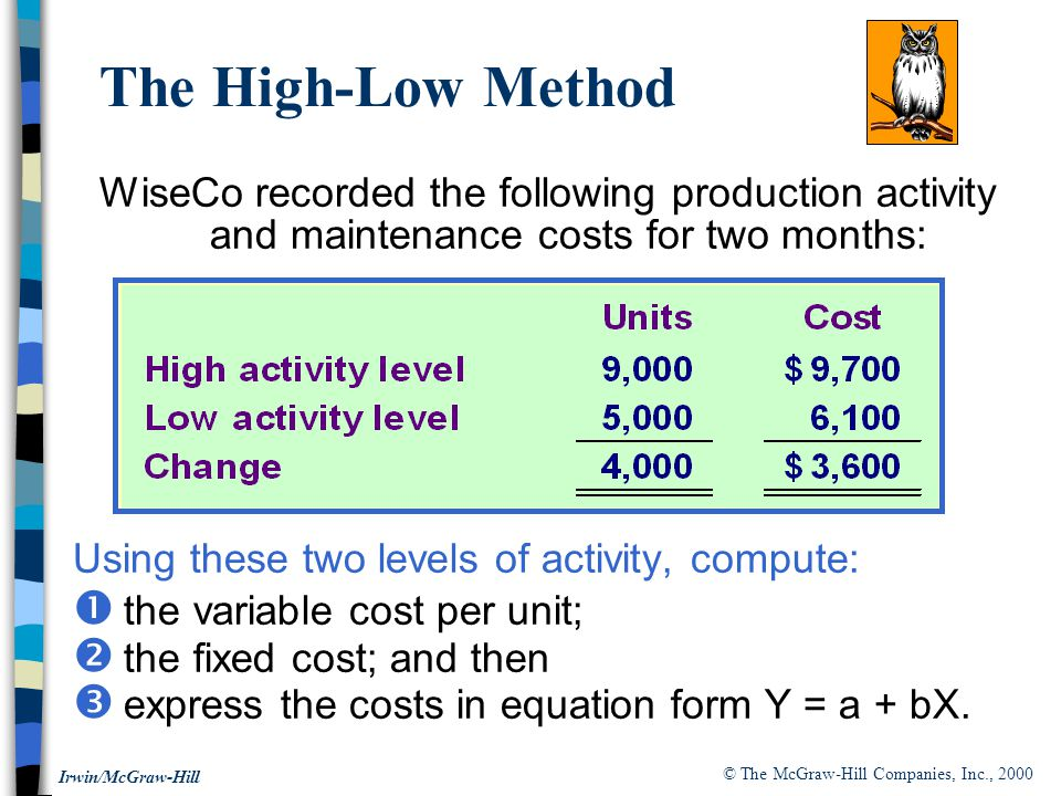 © The McGraw-Hill Companies, Inc., 2000 Irwin/McGraw-Hill WiseCo recorded the following production activity and maintenance costs for two months: Using these two levels of activity, compute:  the variable cost per unit;  the fixed cost; and then  express the costs in equation form Y = a + bX.