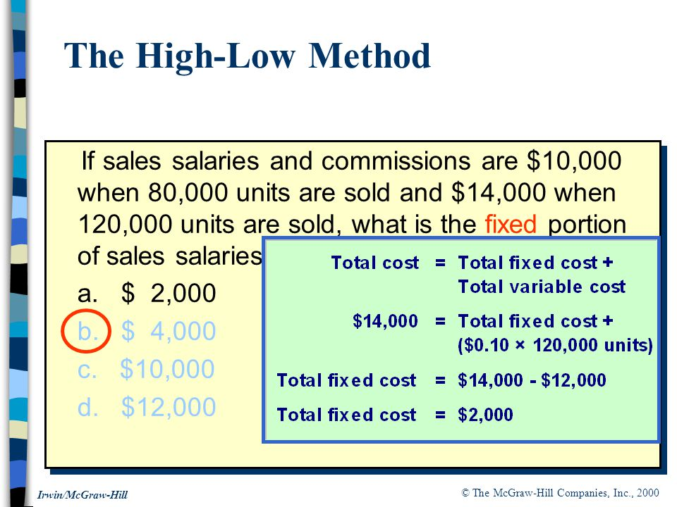 © The McGraw-Hill Companies, Inc., 2000 Irwin/McGraw-Hill If sales salaries and commissions are $10,000 when 80,000 units are sold and $14,000 when 120,000 units are sold, what is the fixed portion of sales salaries and commissions.