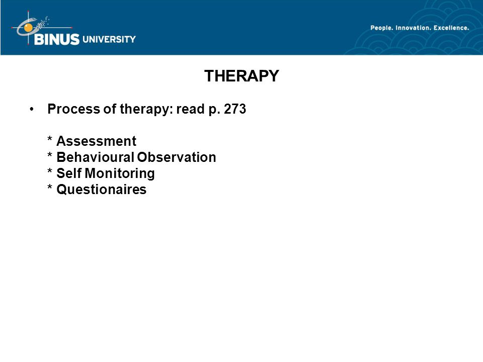 THERAPY Process of therapy: read p.