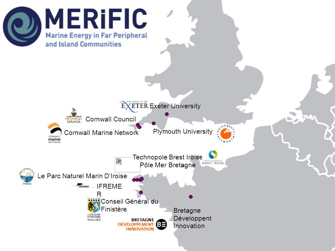 IFREME R Bretagne Développent Innovation Conseil Général du Finistère Exeter University Plymouth University Cornwall Council Cornwall Marine Network Technopole Brest Iroise Pôle Mer Bretagne Le Parc Naturel Marin D'Iroise