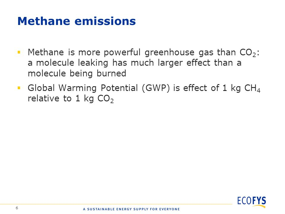 6 Methane emissions  Methane is more powerful greenhouse gas than CO 2 : a molecule leaking has much larger effect than a molecule being burned  Global Warming Potential (GWP) is effect of 1 kg CH 4 relative to 1 kg CO 2