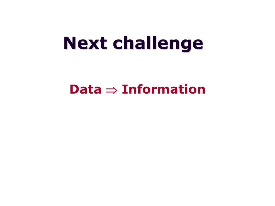 Next challenge Data  Information