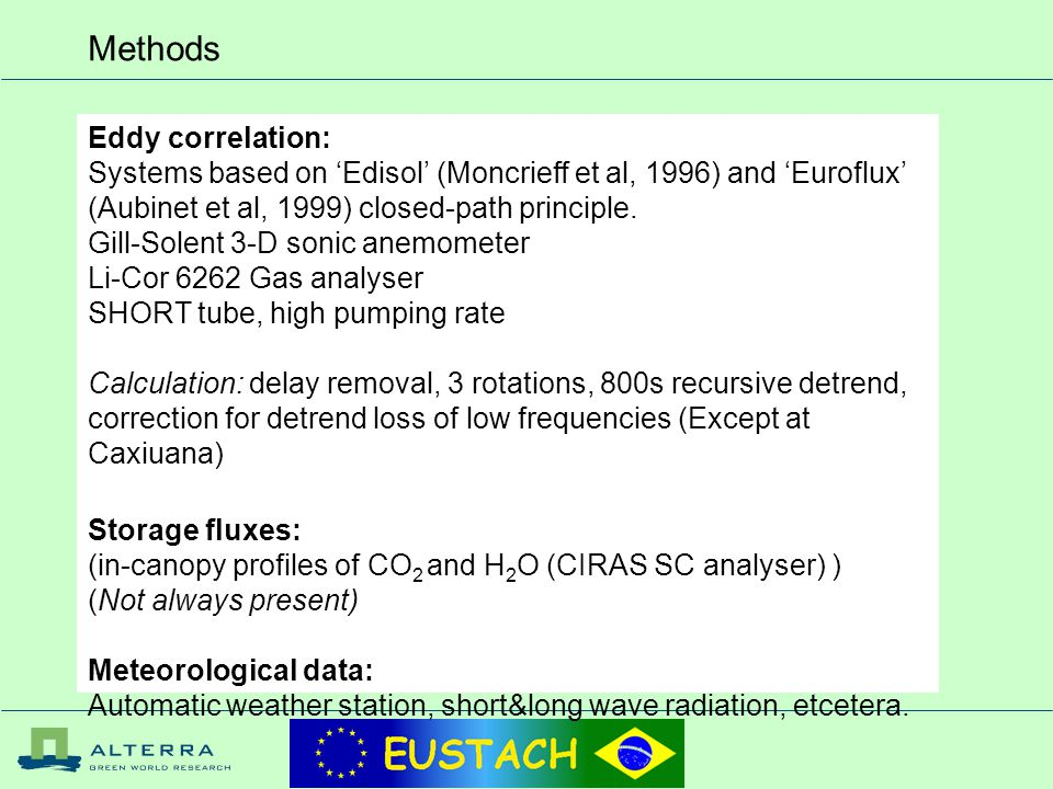 Methods Eddy correlation: Systems based on 'Edisol' (Moncrieff et al, 1996) and 'Euroflux' (Aubinet et al, 1999) closed-path principle.