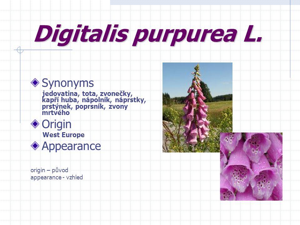 Digitalis purpurea L. Synonyms jedovatina, tota, zvonečky, kapří huba, nápolník, náprstky, prstýnek, poprsník, zvony mrtvého Origin West Europe Appear