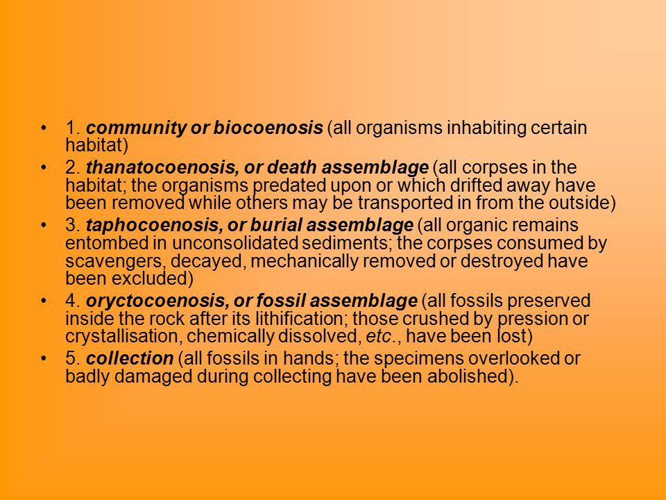 1. community or biocoenosis (all organisms inhabiting certain habitat) 2.