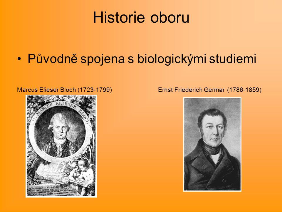 Historie oboru Původně spojena s biologickými studiemi Marcus Elieser Bloch (1723-1799) Ernst Friederich Germar (1786-1859)
