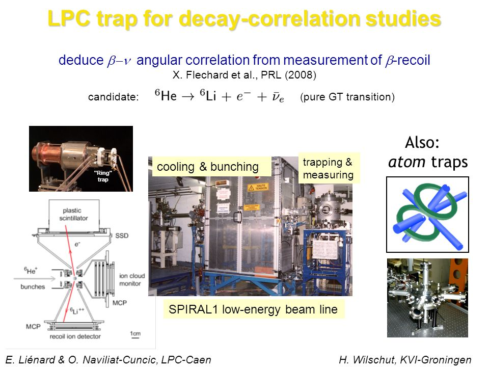 candidate:(pure GT transition) deduce  angular correlation from measurement of  -recoil X. Flechard et al., PRL (2008) LPC trap for decay-correlati