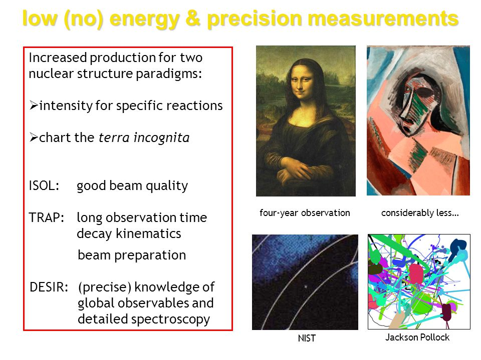 low (no) energy & precision measurements four-year observationconsiderably less… Increased production for two nuclear structure paradigms:  intensity for specific reactions  chart the terra incognita ISOL:good beam quality TRAP:long observation time decay kinematics beam preparation NIST Jackson Pollock beam preparation DESIR:(precise) knowledge of global observables and detailed spectroscopy