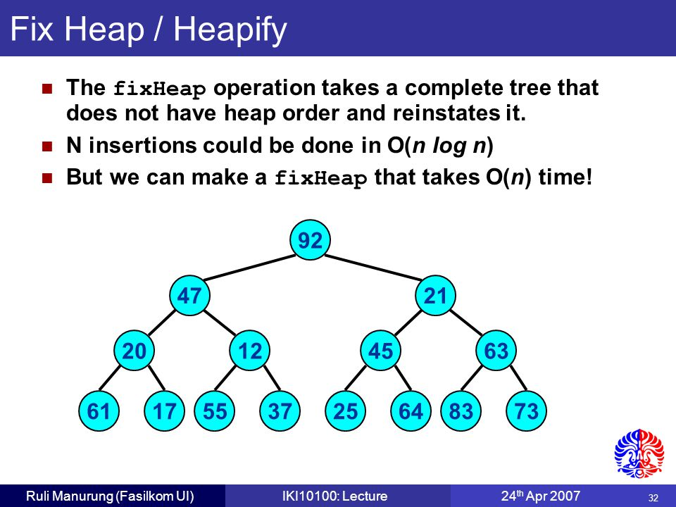 32 Ruli Manurung (Fasilkom UI)IKI10100: Lecture24 th Apr 2007 Fix Heap / Heapify The fixHeap operation takes a complete tree that does not have heap order and reinstates it.