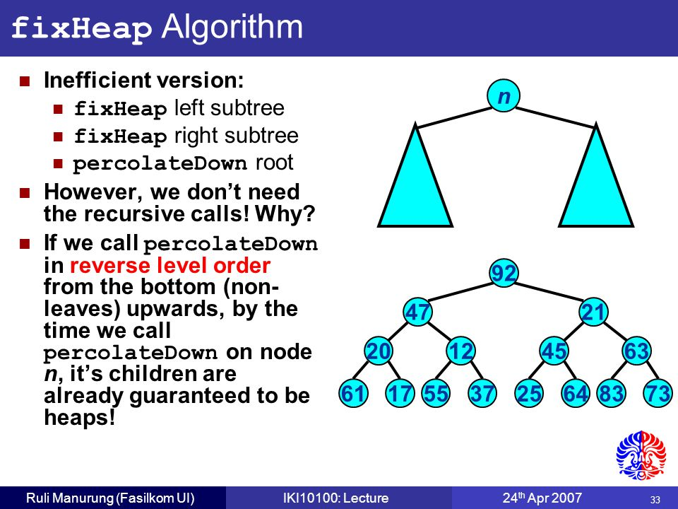 33 Ruli Manurung (Fasilkom UI)IKI10100: Lecture24 th Apr 2007 fixHeap Algorithm Inefficient version: fixHeap left subtree fixHeap right subtree percolateDown root However, we don't need the recursive calls.