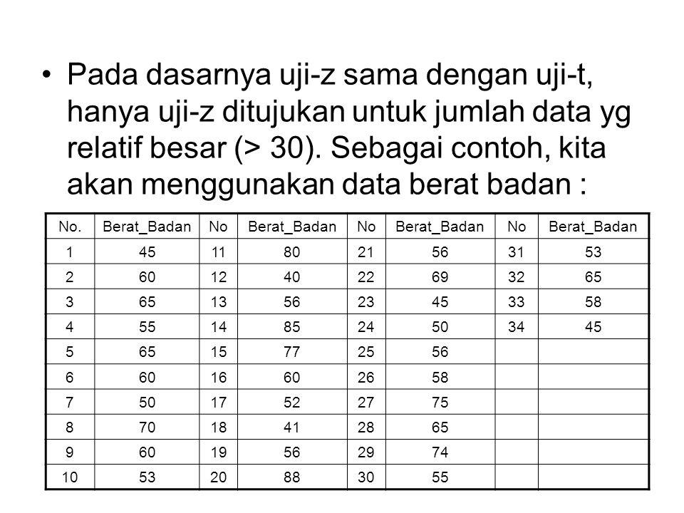Pada dasarnya uji-z sama dengan uji-t, hanya uji-z ditujukan untuk jumlah data yg relatif besar (> 30).