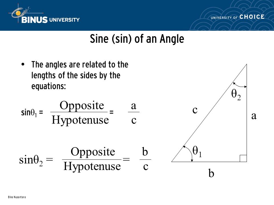 Bina Nusantara Sine (sin) of an Angle The angles are related to the lengths of the sides by the equations: sin θ 1 = = Opposite a Hypotenuse c sinθ 2 = = Opposite b Hypotenuse c a b c θ1θ1 θ2θ2