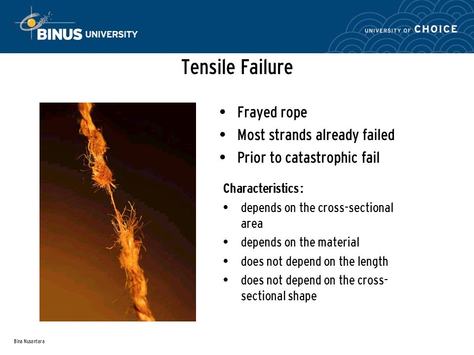Bina Nusantara Tensile Failure Frayed rope Most strands already failed Prior to catastrophic fail Characteristics : depends on the cross-sectional area depends on the material does not depend on the length does not depend on the cross- sectional shape