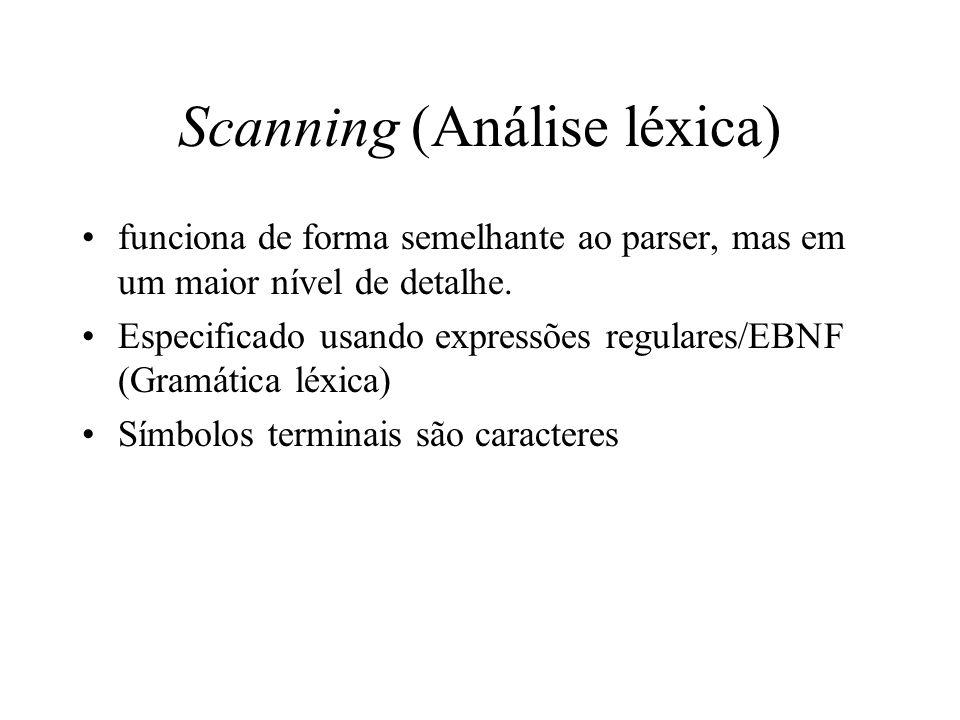 Scanning (Análise léxica) funciona de forma semelhante ao parser, mas em um maior nível de detalhe.