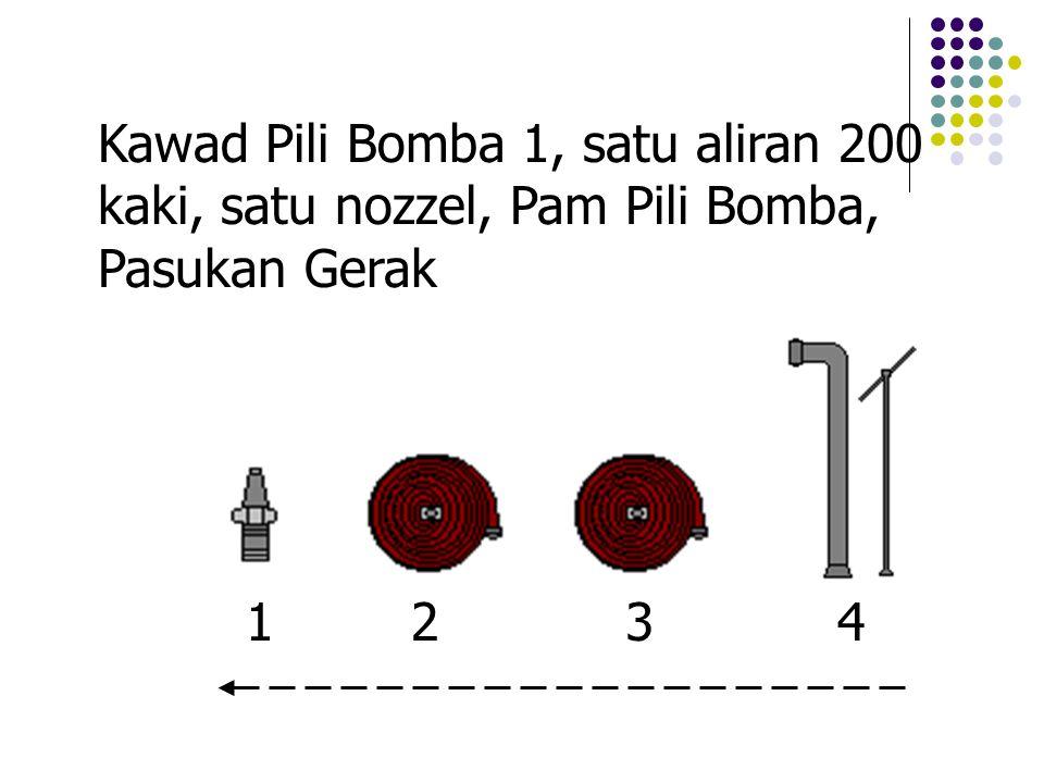 Kawad Pili Bomba 1, satu aliran 200 kaki, satu nozzel, Pam Pili Bomba, Pasukan Gerak 1243