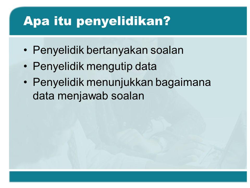 Pusingan Penyelidikan: Mengumpul Data Tentukan kaedah pengumpulan data Pilih individu yang hendak dikaji Rekabentuk instrumen pengumpulan data dan lakaran prosedur Dapatkan kebenaran Kumpulkan maklumat