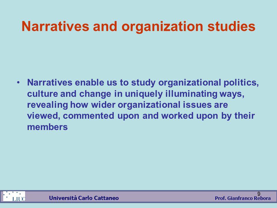 Prof.Gianfranco Rebora Università Carlo Cattaneo 10 Why Management through literature and movies.